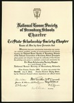 National Honor Society of Secondary Schools Charter, June 20, 1944