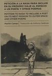 Petición a la NASA para incluir en su próximo viaje al espacio a un poeta y otros poemas by Martín Camps and Anthony Seidman
