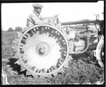 Agricultural Machinery - Calif - Stockton: Tractor and disc with a closeup of steel tread wheel