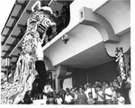 Chinese - Stockton: Chinese dragon dance sceme at dedication of Lee Building, Washington St. and El Dorado St., 144 Mun Kwok La
