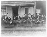 Bands (Music) - Stockton: Centennial Drum Corps band, July 4, 1876, teacher, Walter Balding, John Gilbert, [Nat Furry], Frank Compton, Fred Stockwell, Hewey Adams, [Edward] Grass, [George] Cornwall, and Alfred Parker