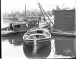 Boats/Boating - Calif - Stockton: boats tied up at dock along Stockton Channel, December 27, 1916