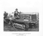 Crawler Tractors - Stockton: Luther Burbank driving Caterpillar Tractor, Potato Day, two unidentified men in the background