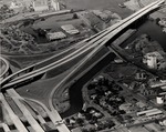 Stockton - Views - 1960 - 1980: Aerial, Interstate 5 freeway bridge across channel, looking west by Leonard Covello