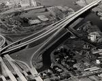 Stockton - Views - 1960 - 1980: Aerial, Interstate 5 freeway bridge across channel, looking west