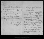 Letter from [Ann Gilrye Muir] Mother to John Muir, 1894 Apr 21. by [Ann Gilrye Muir] Mother