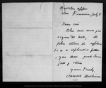 Letter from Samuel Hutchins to [?] Bishop, [ca. 1876] Jul 5.