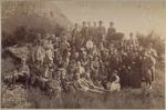John Muir (?), center rear, with hiking party probably in San Gabriel Mountains, California