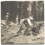 John Muir with unidentified people on Tioga Road, Yosemite National Park, California