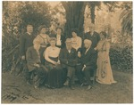 [Frank Logan?], John Burroughs, unidentified, Fay H. Sellers, unidentified, John Muir, unidentified, A. H. Sellers?, Francis Fisher, Browne, unidentified in Southern California