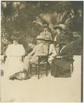 Mary A. Harriman, John Muir, Edward Harriman, unidentified, Betty Averell, unidentified, unidentified in Pasadena, California