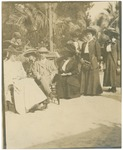 John Muir's hat, Mary A. Harriman, unidentified, Betty Averell, Edward Harriman, and the rest are unidentified in Pasadena, California