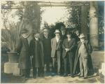 Anstruther Davidson, George E. Hale, James H. McBride, John Muir, Henry F. Osborn, John D. Hooker, James A. B. Scherer, and Andrew Carnegie in Los Angeles, California