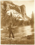 John Muir at Merced River with Royal Arches and Washington Column in background, Yosemite National Park, California