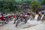 Motorbikes parked in front of Wu Gaitian's home by Marie Anna Lee