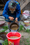 Pouring water into bucket with paper pulp by Marie Anna Lee