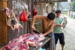 Butcher's stall by Marie Anna Lee