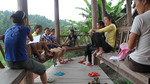 Young women choir singing and conversing