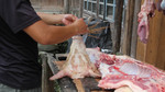 Pig head at butcher stall