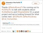 University of the Pacific Tweet