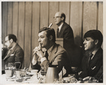 George Moscone and Dan White at table, (circa 1977)