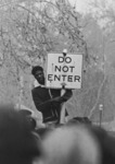 Student Protester Getting a Better View by University of the Pacific Archives