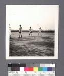 Baseball: panorama of uniformed infielders during game by Richard Shizuo Yoshikawa